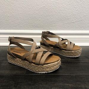 SODA beige strappy platform straw sandals
